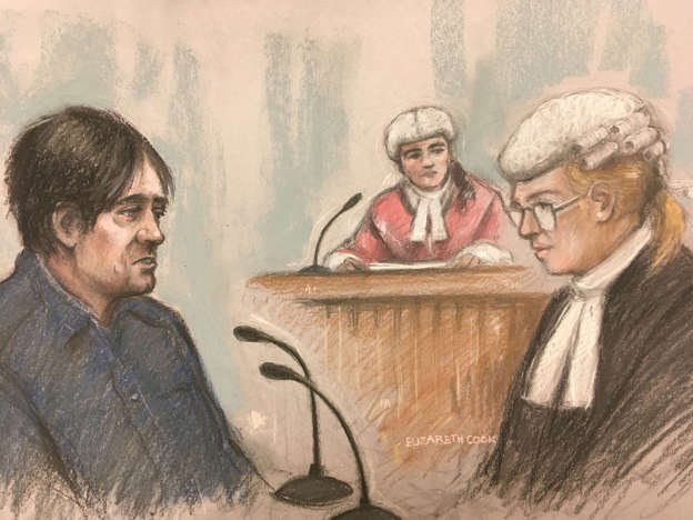 Court artist sketch by Elizabeth Cook of Darren Osborne in the witness box with Defence barrister Lisa Wilding QC (right) at Woolwich Crown Court in London
