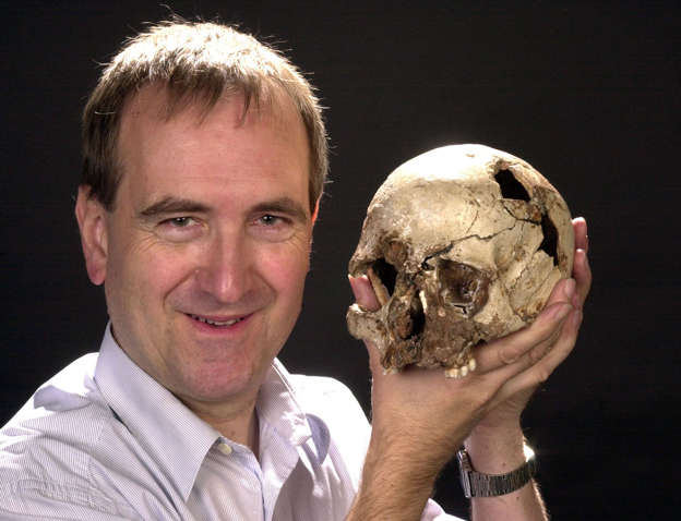 The Natural History Museum's Professor Chris Stringer with the skull of 'Cheddar Man' from Gough's Cave, Somerset, part of the most complete ancient skeleton from Britain, aged about 9,000 years old