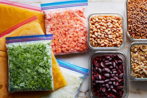a box filled with different types of food on a table: How to Make Your Freezer Work For You