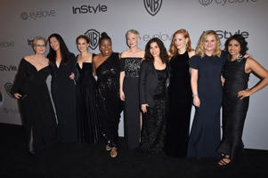 Activist Tarana Burke, actors Michelle Williams, America Ferrera, Jessica Chastain, Amy Poehler, Meryl Streep, Natalie Portman, activists Ai-jen Poo, and Saru Jayaraman attend the 19th Annual Post-Golden Globes Party hosted by Warner Bros. Pictures and InStyle at The Beverly Hilton Hotel on January 7, 2018 in Beverly Hills, California.