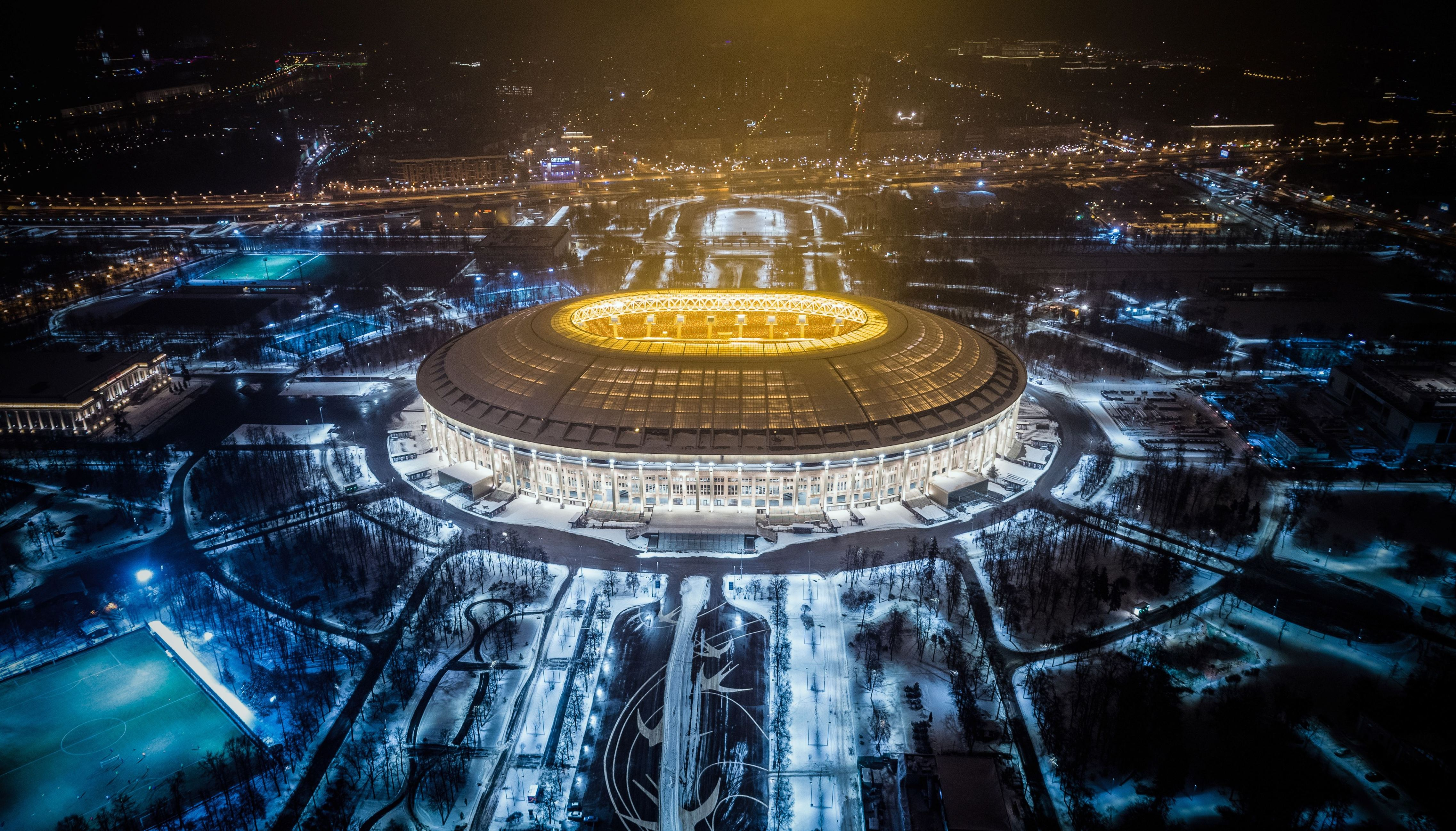 Slide 56 of 73: An aerial view taken with a drone shows Luzhniki Stadium in Moscow on January 24, 2018. Luzhniki Stadium will host seven matches including the final of the 2018 FIFA World Cup football tournament. / AFP PHOTO / DMITRY SEREBRYAKOV