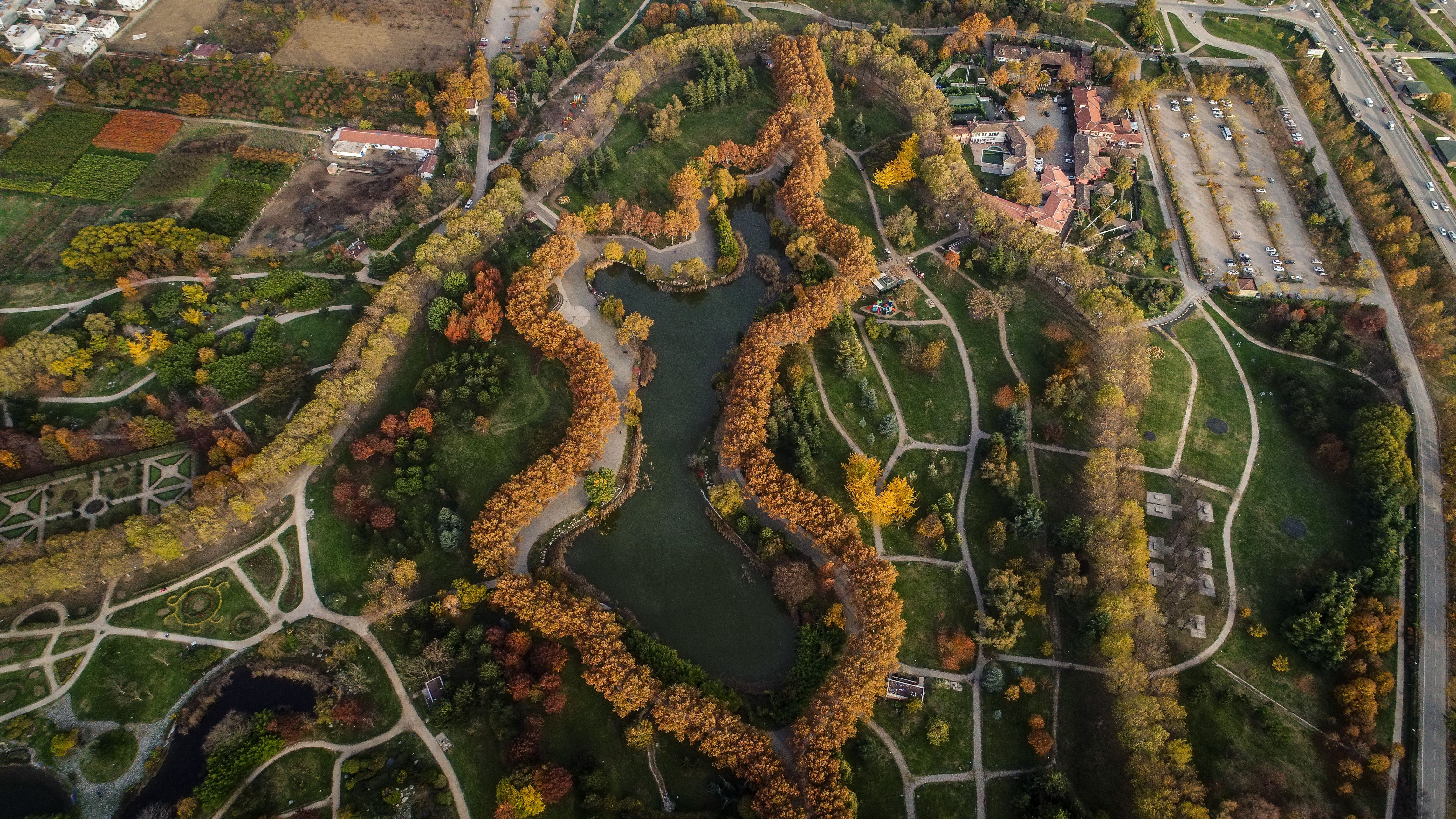 Slide 62 of 73: BURSA, TURKEY - NOVEMBER 14: A drone photo shows an aerial view of yellowish and greenish trees during the autumn season at the Botanical Park in Bursa, Turkey on November 14, 2017. The Botanical Park, which established in 1998 and covers an area of 400.000 m2, has 8000 trees in 150 different species, 100.000 bushes in 76 diverse species, 20 species in 50.000 shrubs and apart from these it has Japanish Garden and British Garden and French Garden.