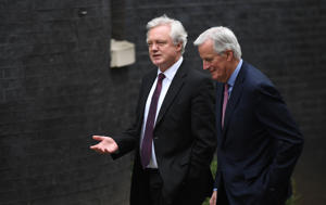 European Commission negotiator Michel Barnier arrives at 10 Downing Street for talks with Brexit Secretary David Davis.