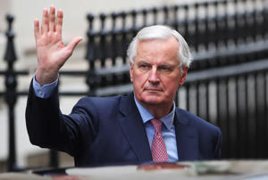 The European Union's chief Brexit negotiator Michel Barnier arrives in Downing Street in London, February 5, 2018.