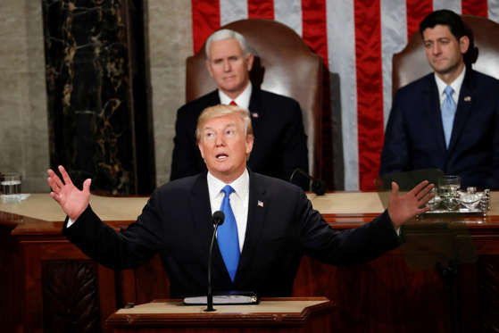 Slide 4 of 31: President Donald Trump delivers his State of the Union address to a joint session of Congress on Capitol Hill in Washington, Tuesday, Jan. 30, 2018. (AP Photo/Pablo Martinez Monsivais)