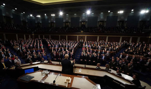 Slide 2 of 31: President Donald Trump delivers his State of the Union address to a joint session of U.S. Congress on Capitol Hill in Washington, Tuesday, Jan. 30, 2018. (Jim Bourg/Pool via AP)