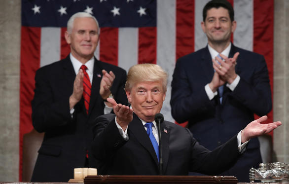 Slide 1 of 30: U.S. President Donald Trump delivers his first State of the Union address to a joint session of Congress inside the House Chamber on Capitol Hill in Washington, U.S., January 30, 2018.