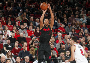 PORTLAND, OR - JANUARY 31: CJ McCollum #3 of the Portland Trail Blazers shoots the ball against the Chicago Bulls on January 31, 2018 at the Moda Center in Portland, Oregon.