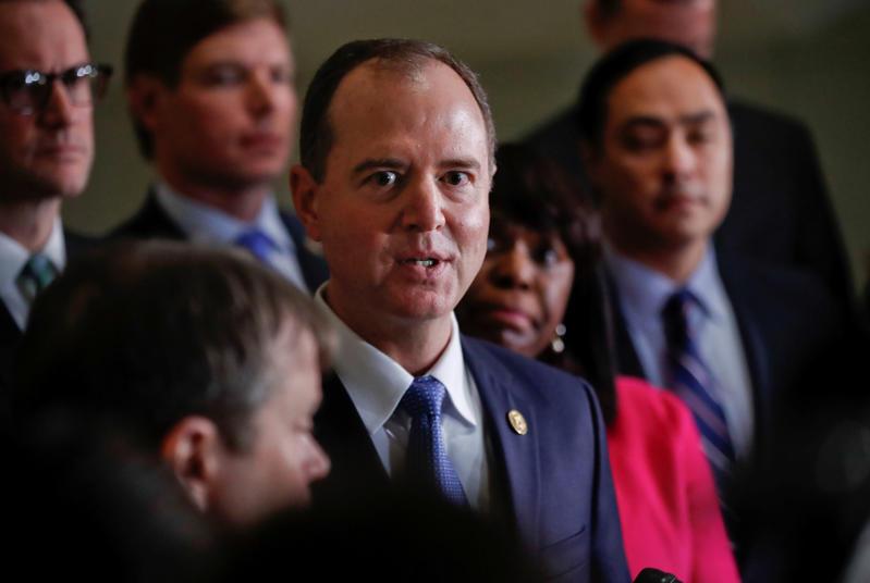 众议院情报委员会成员,加利福尼亚州众议员Adam Schiff于2018年1月29日星期一在华盛顿国会山向媒体成员发表讲话。