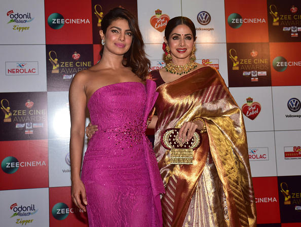 Indian film actress Priyanka Chopra and Sridevi