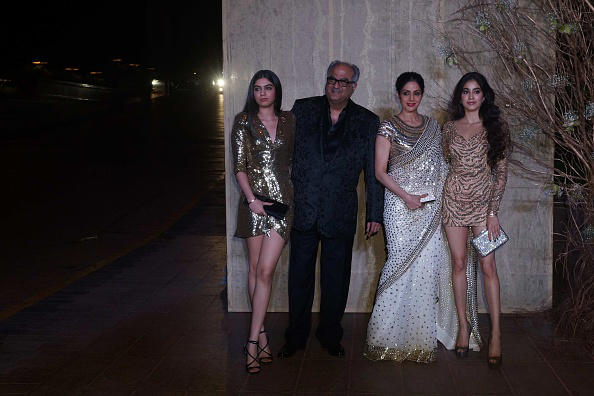 Bollywood actor Sridevi and husband Boney Kapoor with daughters Jhanvi Kapoor and Khushi Kapoor