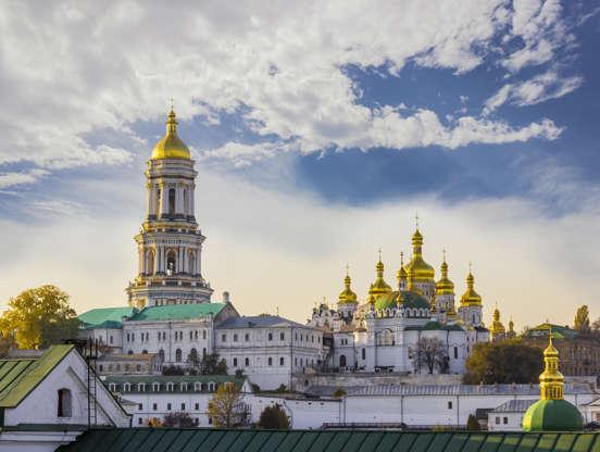Διαφάνεια 20 από 51: Kiev-Pechersk Lavra against the sky with clouds autumn. Big Bell tower, Refectory Church and Assumption Cathedral. Kiev, Ukraine