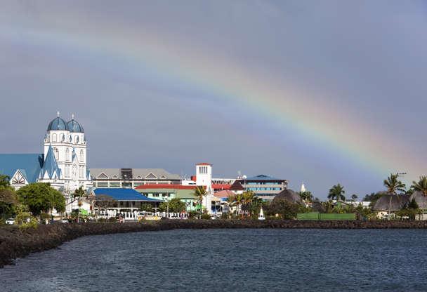 Διαφάνεια 15 από 51: The view of a morning rainbow over Apia town on Upolu island (Samoa).