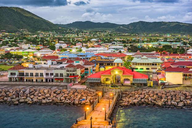 Διαφάνεια 24 από 51: Basseterre, St. Kitts and Nevis town skyline at the port.