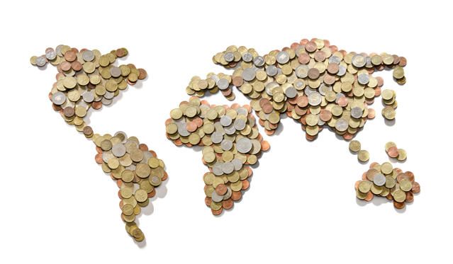 Slide 1 of 21: Global money map. World map made of money coins isolated on white background