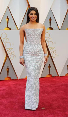 Priyanka Chopra at Oscars 2017 red carpet. Picture courtesy: Reuters