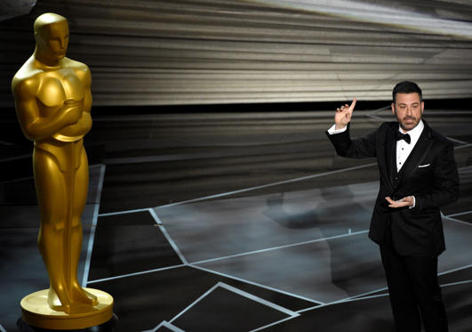 Slide 1 of 61: Host Jimmy Kimmel speaks at the Oscars on Sunday, March 4, 2018, at the Dolby Theatre in Los Angeles. (Photo by Chris Pizzello/Invision/AP)