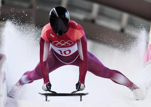 PYEONGCHANG-GUN, SOUTH KOREA - FEBRUARY 15:  Nikita Tregubov of Olympic Athlete from Russia slides into the finish area during the Men's Skeleton heats on day six of the PyeongChang 2018 Winter Olympic Games at the Olympic Sliding Centre on February 15, 2018 in Pyeongchang-gun, South Korea.
