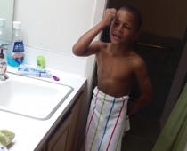 Kid's hilarious reaction after shaving his eyebrows off