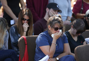 People participate in a prayer vigil for famlies of Marjory Stoneman Douglas High School, where a mass shooting took place, at the Parkridge Church, on February 15, 2018 in Parkland, Florida. Yesterday Police arrested 19 year old former student Nikolas Cruz for killing 17 people at the high school.