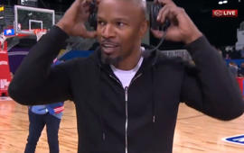Jamie Foxx walks off live ESPN broadcast after Katie Holmes question