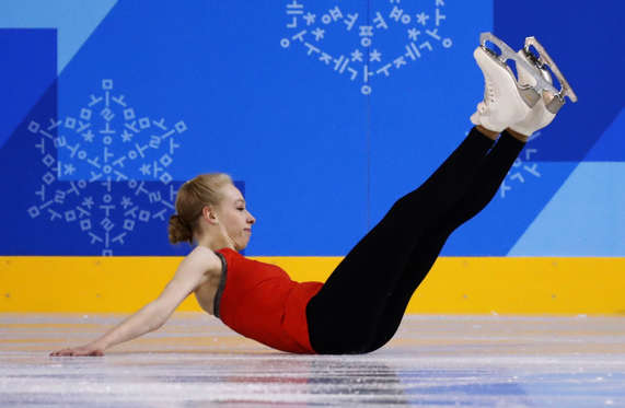 Slide 3 of 110: United States' figure skater Bradie Tennell falls during a practice session ahead of the women's figure skating event in the Gangneung Ice Arena at the 2018 Winter Olympics in Gangneung, South Korea, Tuesday, Feb. 20, 2018.
