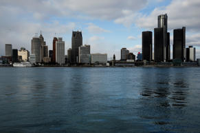 A general view of the Detroit skyline, dominated by General Motors headquarters (R), is seen from Windsor, Onatario, Canada January 14, 2018.