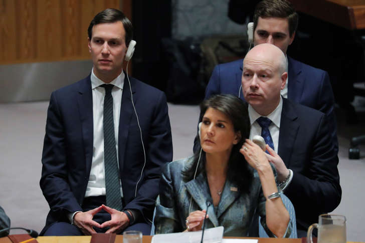 U.S. United Nations ambassador Nikki Haley (C), White House senior adviser Jared Kushner (L) and Jason Greenblatt, U.S. President Donald Trump's Middle East envoy, listen to a meeting of the UN Security Council at UN headquarters in New York, U.S., February 20, 2018. REUTERS/Lucas Jackson