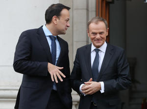 EU Council president Donald Tusk (right) arrives for talks with Taoiseach Leo Varadkar at Government Buildings in Dublin.