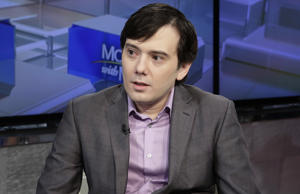 "Martin Shkreli is interviewed by Maria Bartiromo during her ""Mornings with Maria Bartiromo"" program on the Fox Business Network, in New York, Tuesday, Aug. 15, 2017. (AP Photo/Richard Drew)"