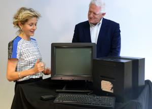 Baroness Lane-Fox (left) and Rick Haythornwaite (right) unveil the NeXT cube, the original machine on which Sir Tim Berners-Lee designed the World Wide Web