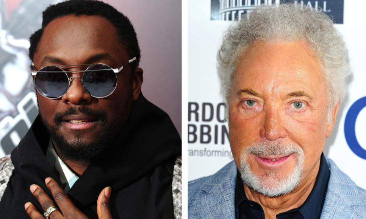 File photos of Will.i.am (left) and Sir Tom Jones (right).