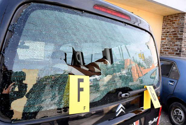 A shattered car window at the scene in Carcassonne