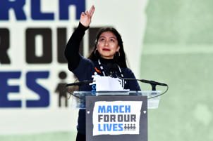 Los Angeles student Edna Chavez speaks at the March for Our Lives rally in Washington, DC on March 24, 2018.  Galvanized by a massacre at a Florida high school, hundreds of thousands took to the streets in cities across the United States on Saturday in the biggest protest for gun control in a generation. / AFP PHOTO / Nicholas Kamm        (Photo credit should read NICHOLAS KAMM/AFP/Getty Images)