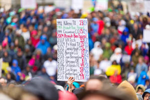 PORTLAND, OR - MARCH 24, 2018: A sign that markes a story line of school mass shootings in the USA from 1991 to the present during the March for Our Live on March 24, 2018, in downtown Portland, OR.