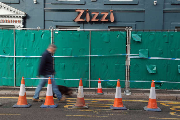 Barriers erected outside a Zizzi restaurant in Salisbury
