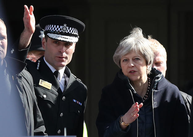 Prime Minister Theresa May, with Wiltshire Police Chief Constable Kier Pritchard, in Salisbury