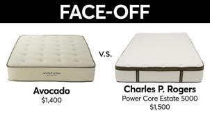 a close up of a logo: Mattress Face-Off: Charles P. Rogers vs. Avocado
