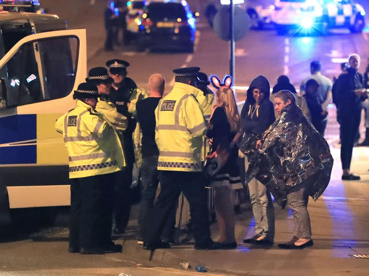 File photo dated 23/05/17 of emergency services at Manchester Arena after reports of an explosion at the venue during an Ariana Grande gig.
