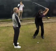 Watch golf pro Phil Mickelson hit a flop shot over a friend's head
