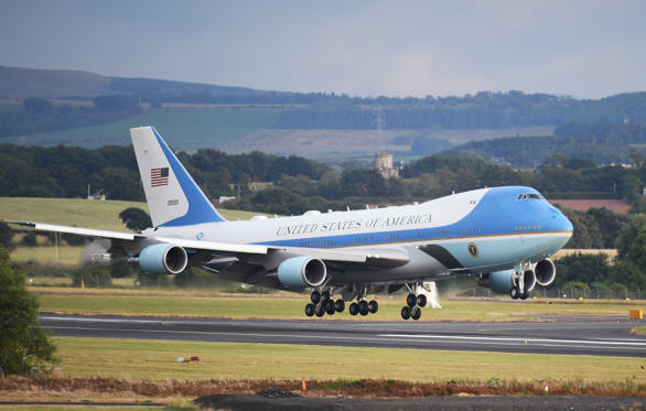 Slide 1 of 30: GLASGOW, SCOTLAND - JULY 13:  Air Force One carrying the President of the United States, Donald Trump and First Lady, Melania Trump touches down at Glasgow Prestwick Airport on July 13, 2018 in Glasgow, Scotland.  (Photo by Jeff J Mitchell/Getty Images)