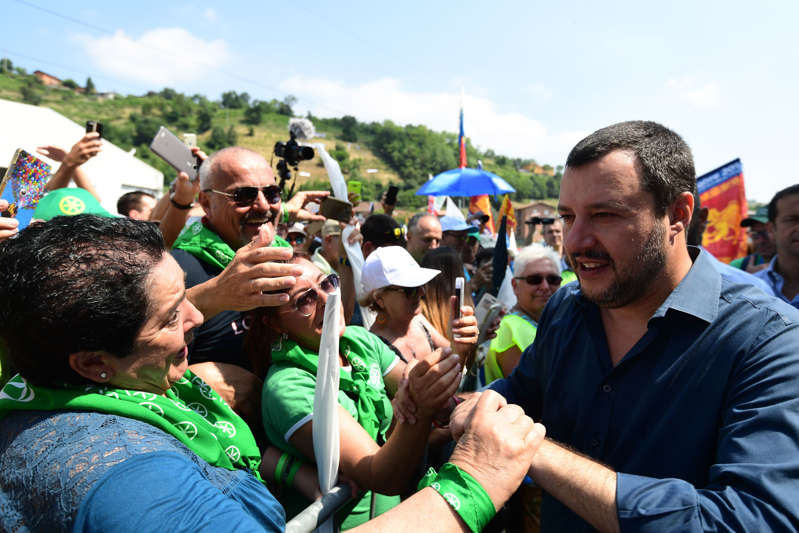 Italy's Interior Minister and Deputy Prime Minister Matteo Salvini greets supporters as he arrives for the annual meeting of Lega Nord (North League) in Pontida, northeast Milan, on July 1, 2018.