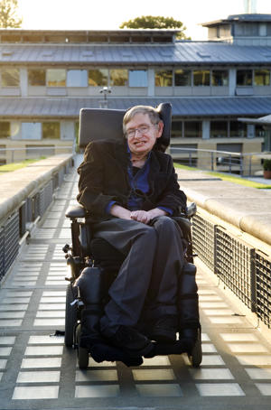 Professor Stephen Hawking, British theoretical physicist. Photographed on the roof garden of the Centre for Mathematical Sciences, University of Cambridge.