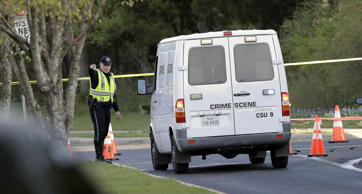 A police crime scene van arrives near the site of Sunday's explosion, Monday, March 19, 2018, in Austin, Texas. Police warned nearby residents to remain indoors overnight as investigators looked for possible links to other deadly package bombings elsewhere in the city this month.