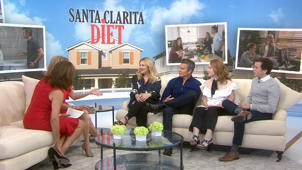 a group of people sitting on a couch: Drew Barrymore, Timothy Olyphant talk 'Santa Clarita Diet'