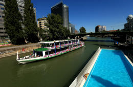 A floating swimming pool on the Donaukanal, Vienna, Austria   (Photo by Mike Egerton/PA Images via Getty Images)