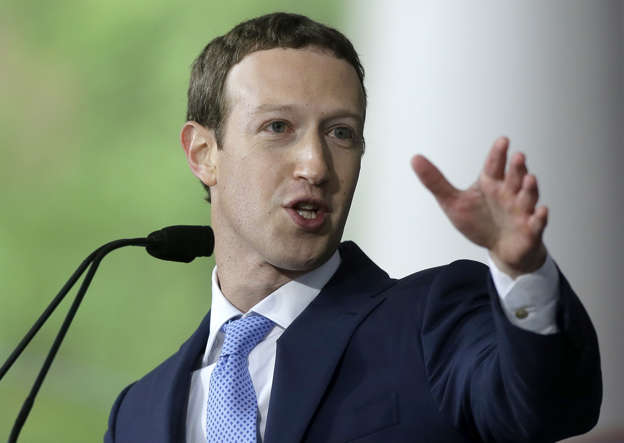 Facebook CEO and Harvard dropout Mark Zuckerberg delivers the commencement address at Harvard University