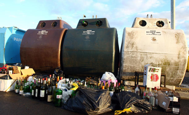 Slide 1 of 15: Glass bottles are recycled at Polmaise recycling plant in Stirling, after Christmas and New Year.