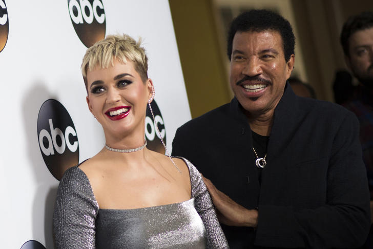 Singers/Songwriters Katy Perry (L) and Lionel Richie attend the Disney ABC Television TCA Winter Press Tour on January 8, 2018, in Pasadena, California.