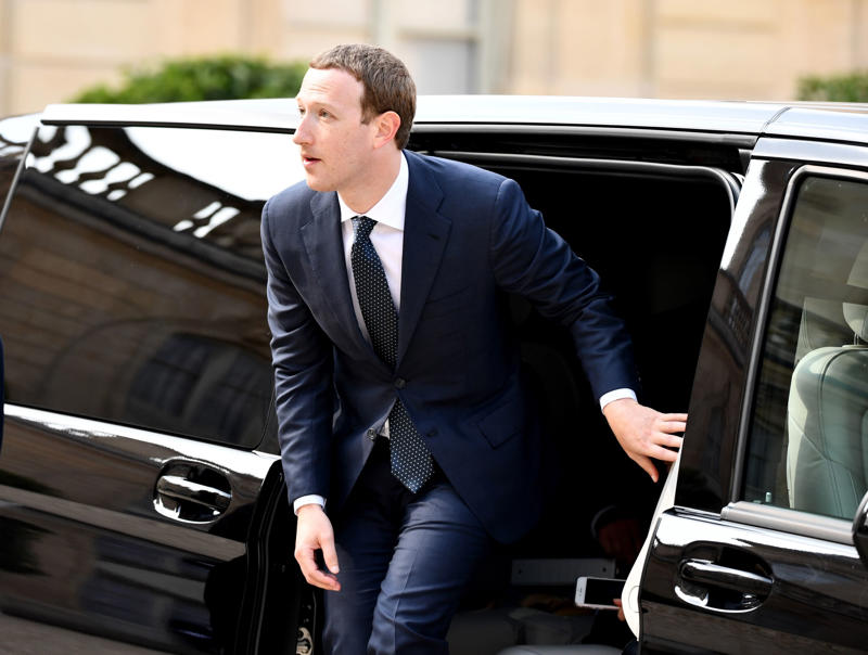 PARIS, FRANCE - MAY 23: Mark Zuckerberg Founder and CEO of Facebook arrives for a meeting with French President Emmanuel Macron (not seen) for the Tech for Good' summit at the Elysee Palace in Paris, France on May 23, 2018. (Photo by Mustafa Yalcin/Anadolu Agency/Getty Images)